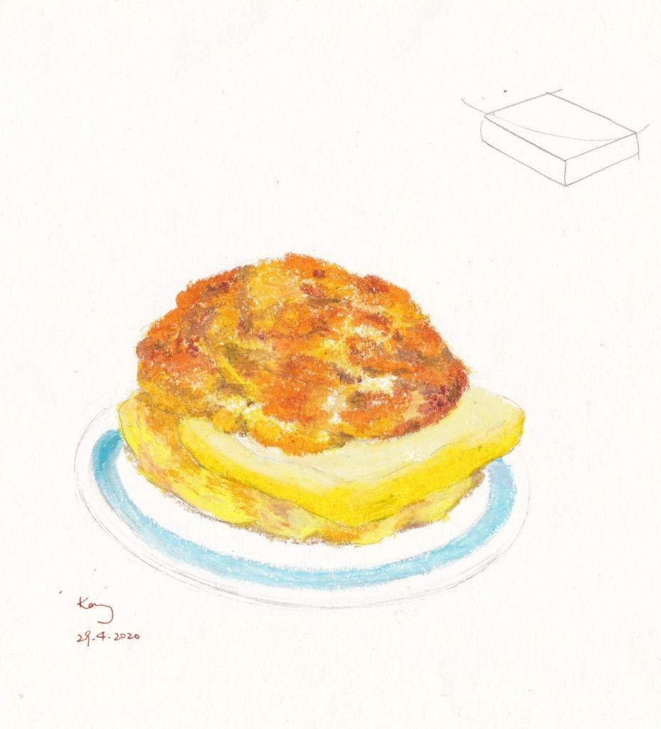 《菠蘿油》(課堂示範)粉彩 12cm x 12cm 28-10-2020