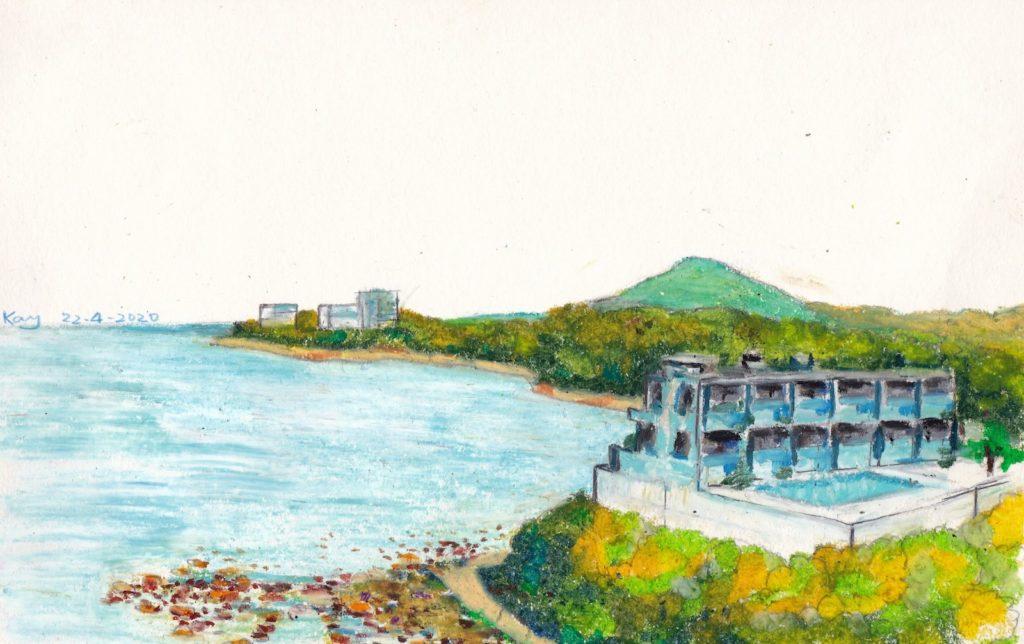 《香港島南岸 II》(課堂示範)粉彩 29cm x 18.5cm 22-4-2020