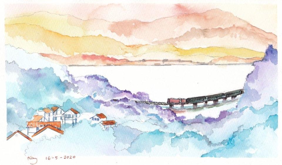 《大埔滘火車橋》墨 + 水彩 28cm x 16.8cm 16-5-2020