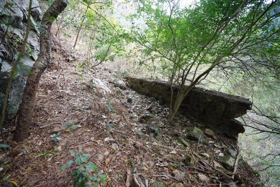 被山泥沖毀的石壆。