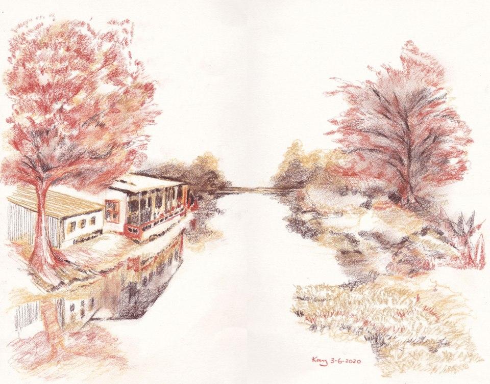 《營盤河畔小屋》碳筆 38.5cm x 29.4cm 3-6-2020