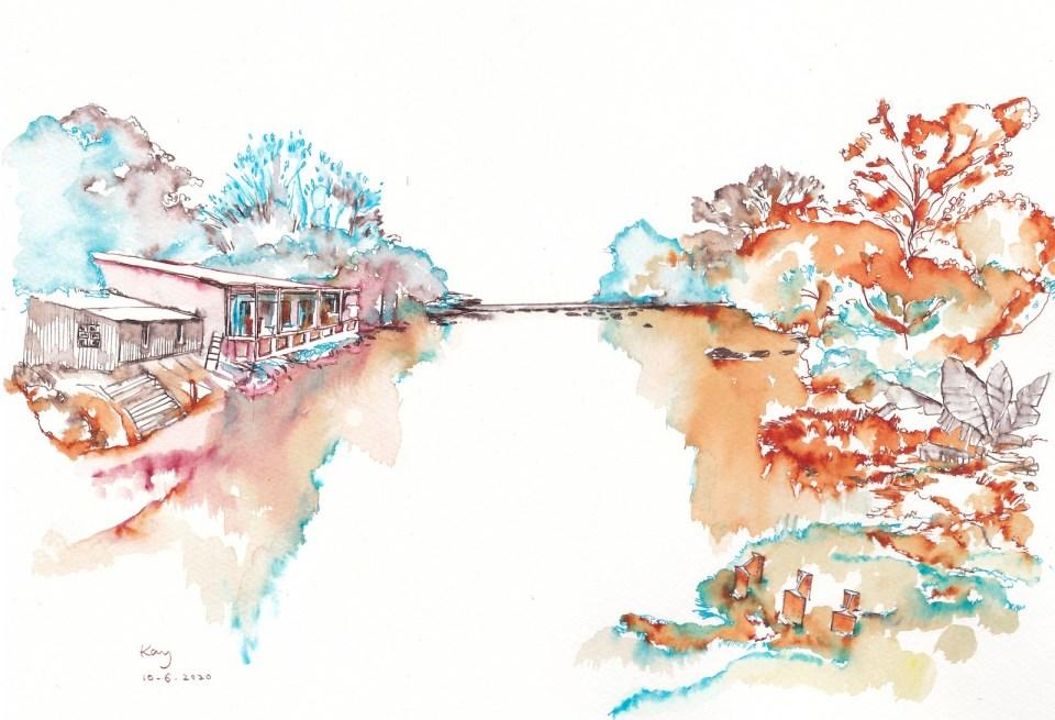 《營盤河畔小屋(墨)》(課堂示範)墨 38.5cm x 29.4cm 10-6-2020