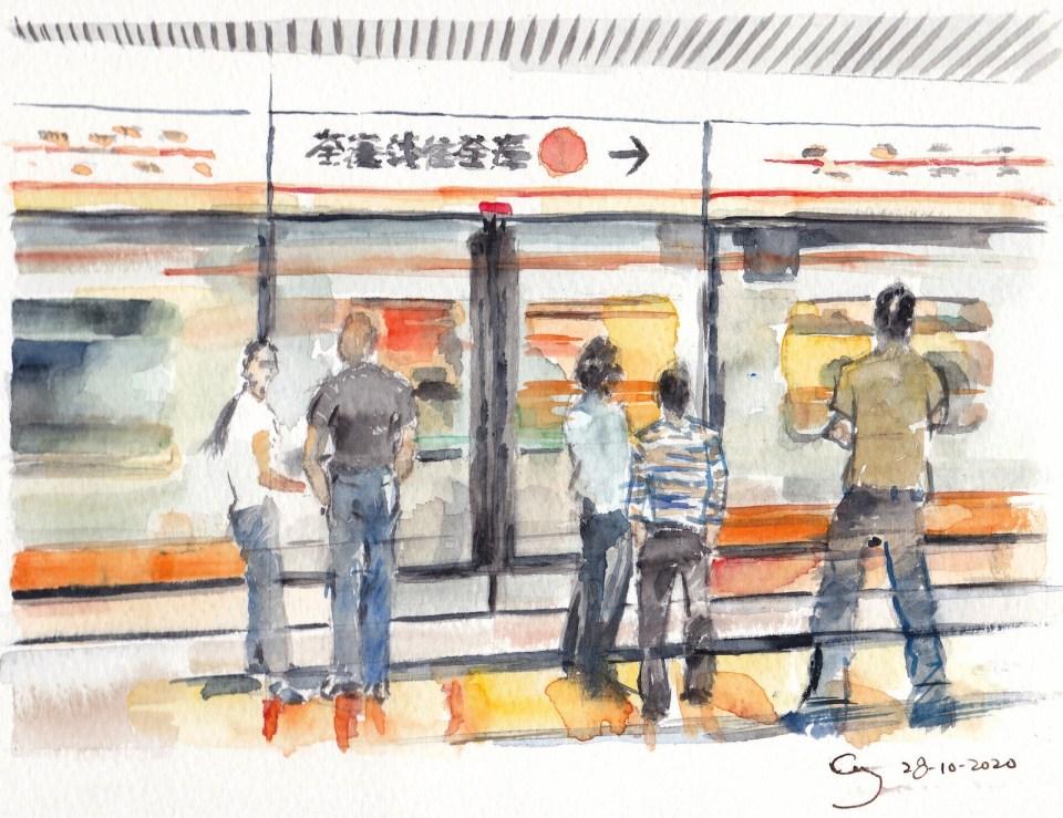 《地鐵》(水彩速寫課堂示範)
