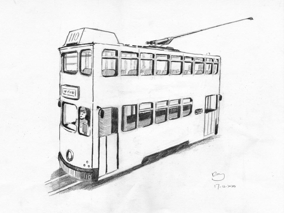 《電車》(課堂示範)鉛筆 36m x 27cm 17-12-2020