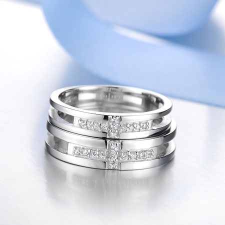 Matching Christian Cross Wedding Engagement Rings Set With