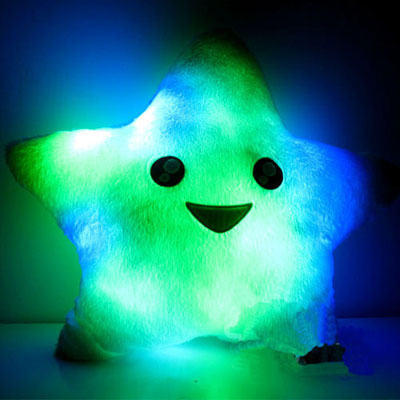 Colourful LED Light up Star Shaped Pillow for Girls and