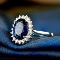 Dark Blue Natural Sapphire Silver Engagement Rings for ...