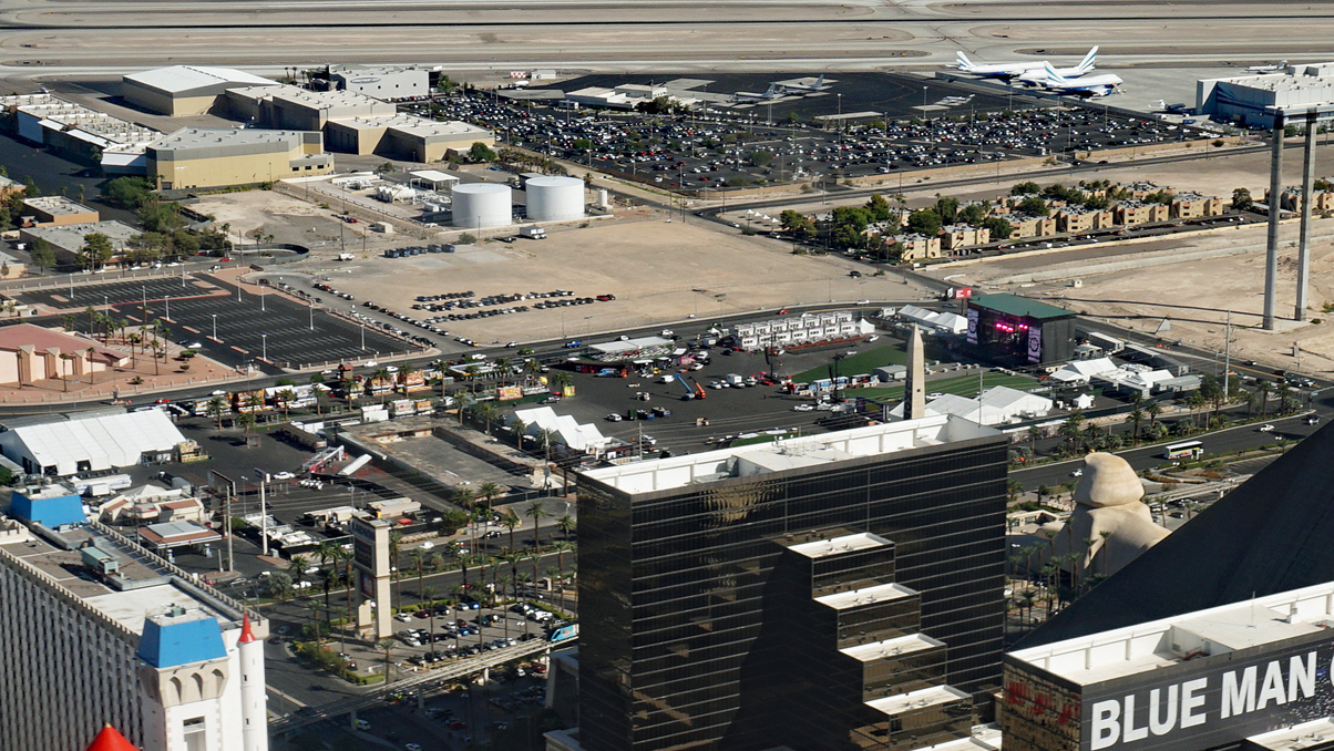 Route 91 Harvest Festival shooting site, Las Vegas Village and Festival Grounds, Las Vegas Strip, Nevada