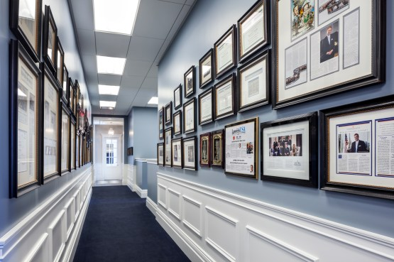 Eglet Prince office hallway with awards displayed