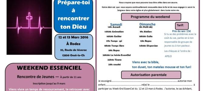 Week-End Essenciel pour les jeunes : 12 & 13 mars à Rodez