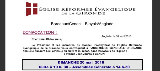 Assemblée Générale Ordinaire 2018 : le 20 mai à Cenon