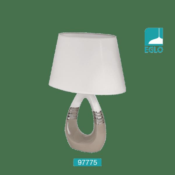 Table Lamp Taupe Chrome White