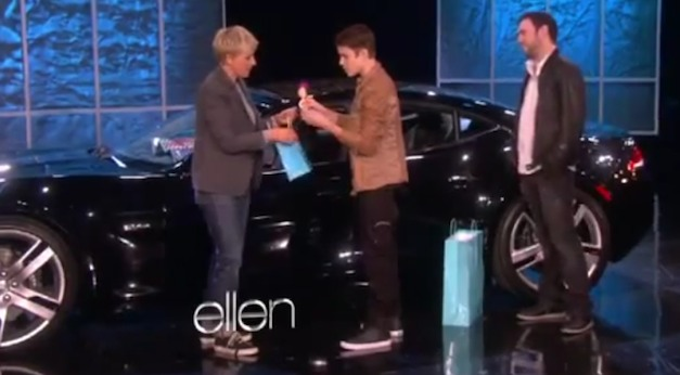 Video: Justin Bieber gets Fisker Karma for his 18th birthday on Ellen