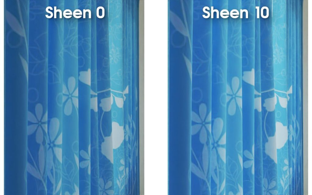 sheen value variation curtain example