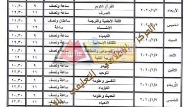 Photo of ننشر جدول امتحانات أولى وتانية ثانوي بالمعاهد الأزهرية 2019 / 2020