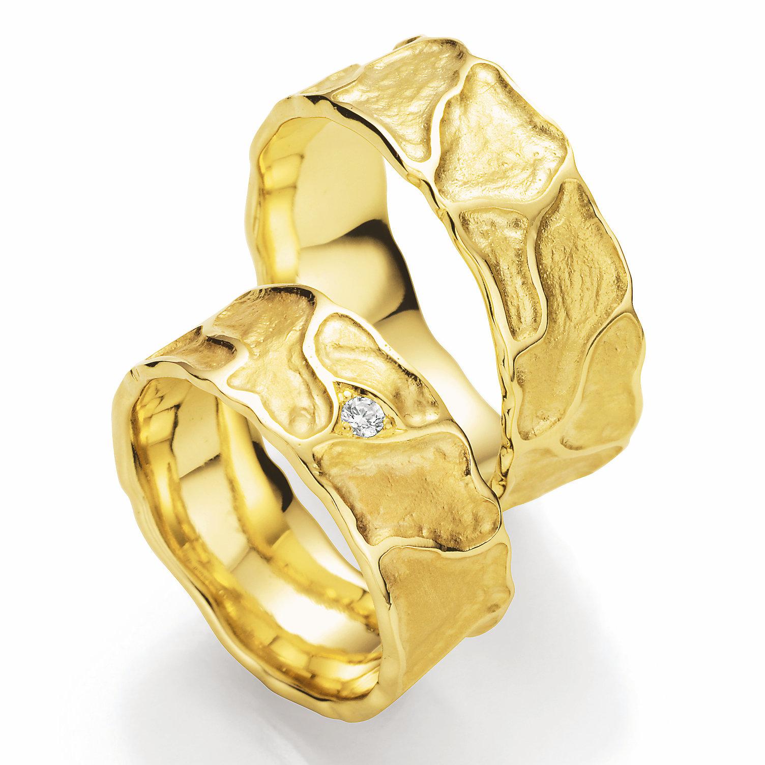 EheringeShop  Vulkano Eheringe aus 585 Gelbgold P22540