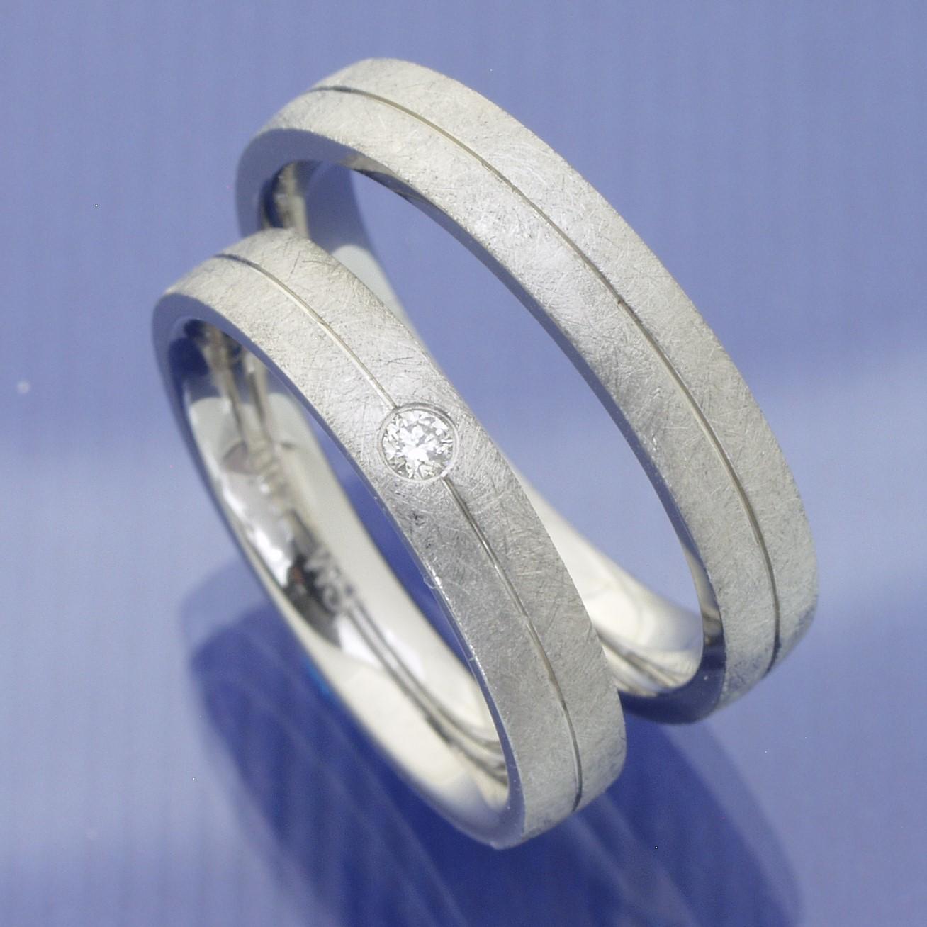 EheringeShop  Verlobungsringe  Partnerringe aus Edelstahl mit Brillant P3154470