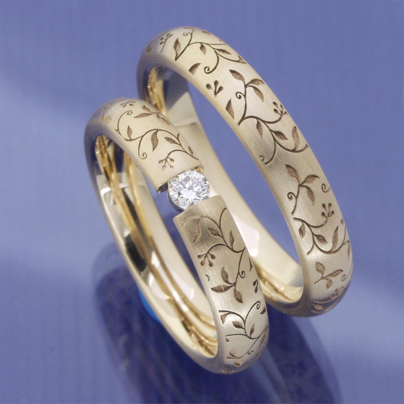EheringeShop  Ausgefallene Eheringe aus 585 Apricotgold