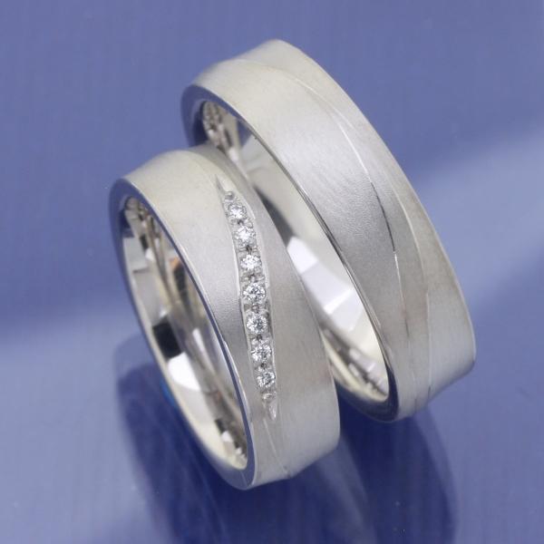 EheringeShop  Hochzeitsringe aus 585 Weissgold mit 0052