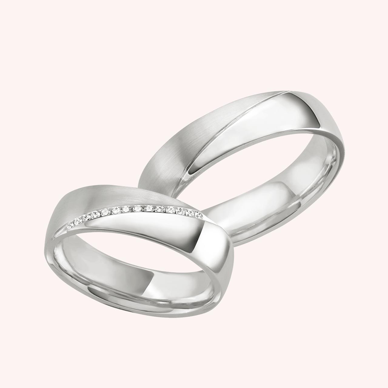 Trauringe aus Silber  Diamanten 007ct  EHERINGEde