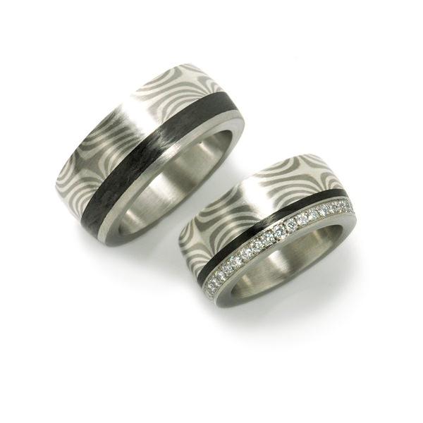 Goldschmiede mojo design  Eheringe Mokumegane Weissgold Silber Carbon Brillanten 1006100