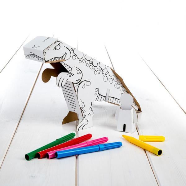 dinossauro para colorir e montar, da Calafant com 6 canetas incluidas