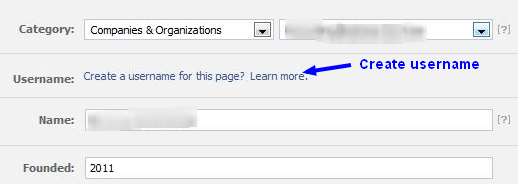 Creating Facebook Fanpage Username setting