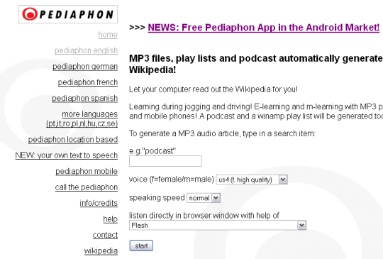 PEDIAPHON -Listen Wikipedia aritcles as MP3