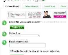 YouConvertIt -Complete conversion, file storage, units conversion Website