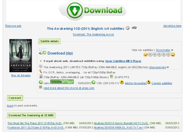 Subtitles The Awakening - subtitles english 1CD srt (eng)