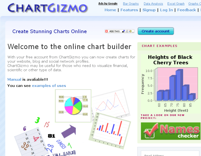 Online chart software for visualizing data ChartGizmo