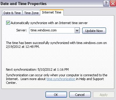 Sync internet timezone on PC