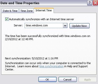Sync internet timezone on PC