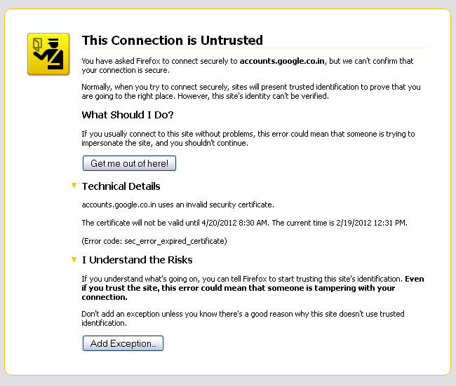 Security Certificate is not valid