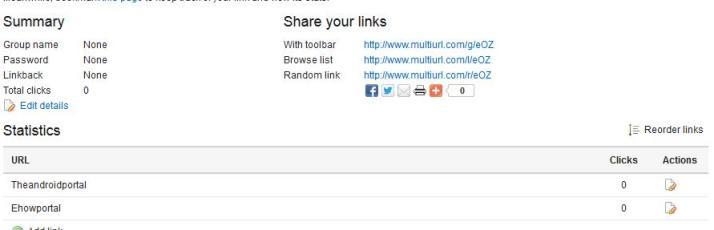 Share share multiple links as single URL.