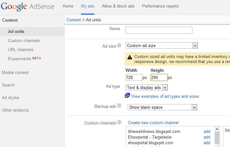 Adsense Custom Ads Size