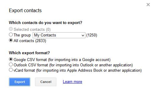 Exporting Gmail Contacts as CSV Format