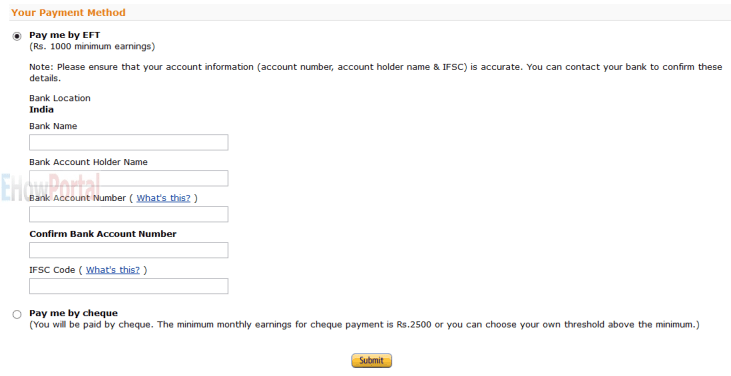 NEFT Payment Method for India Amazon Associates