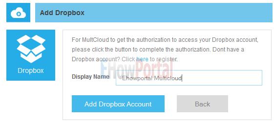 Configure Dropbox with multcloud Account