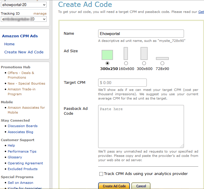 Creating CPM ad unit on amazon CPM ads