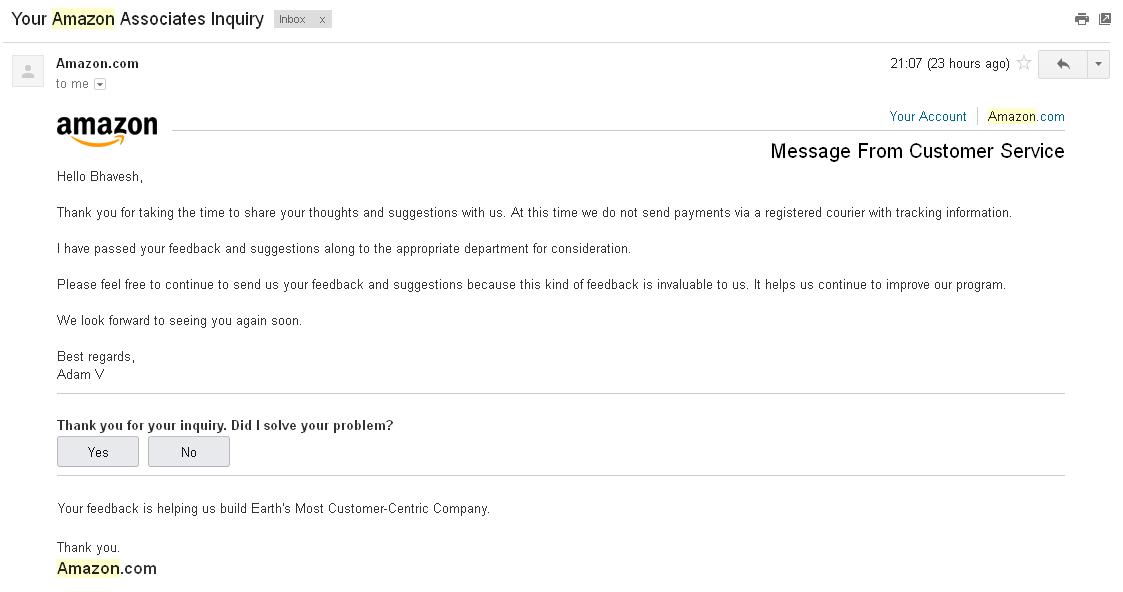 Amazon Associates Contact Reply
