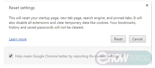 Fix webpage not available by Reseting Browser Setting