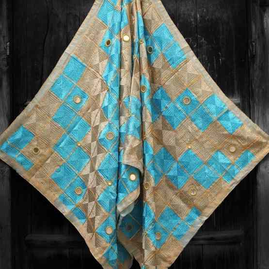 Sky Blue Light Peanut Color - Mirror Work Phulkari
