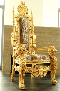 LION THRONE CHAIR KINGCHAIR PRESIDENT GOLD MAHOGANY ...
