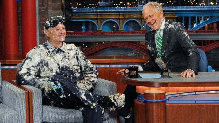 Bill Murray Pops Out of a Cake for David Letterman