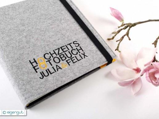 Hochzeit Hochzeitsfotobuch Filz mit Namen bestickt