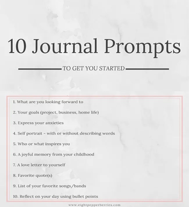 10 Starter Journal Prompts