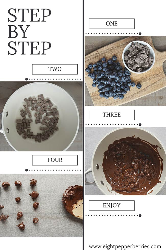Recipe for Chocolate Blueberries - a quick healthy indulgent snack
