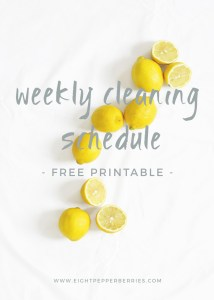 Weekly Cleaning Schedule (Free Printable) >> Eight Pepperberries