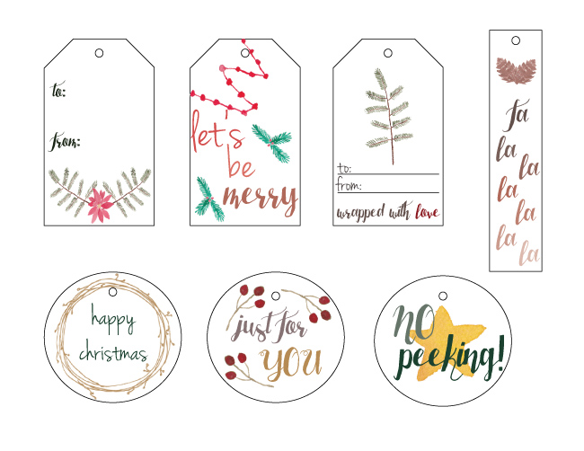 FREE printable watercolor holiday tags >> by EightPepperberries